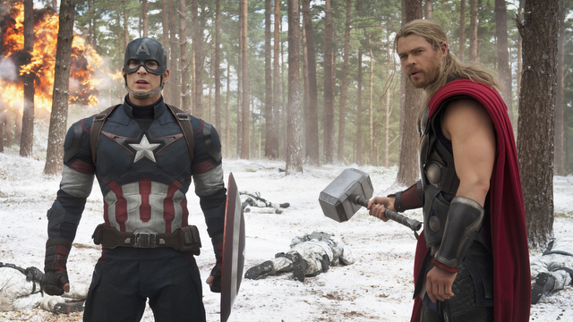 "Avengers, filmThis photo provided by Disney/Marvel shows, Chris Evans, left, as Captain America/Steve Rogers, and Chris Hemsworth as Thor, in a scene of the new film, ""Avengers: Age Of Ultron."" The movie releases in the U.S. on May 1, 2015. (Jay Maidment/Disney/Marvel via AP)"