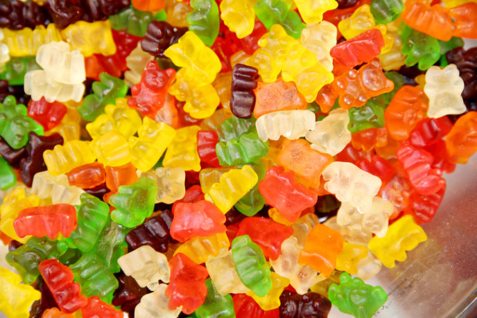 Colorful gummy or jellybears candies