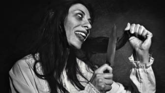 Woman cutting hair before exorcism