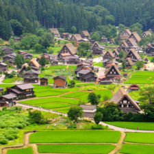 An aerial view of the Shirakawago Village, located in Japan