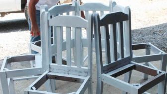 Tree bench made from kitchen chairs diy outdoor furniture repurposing upcycling.jpg
