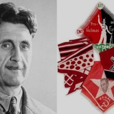 10a orwell and bloodied scarf he wore when shot.jpg