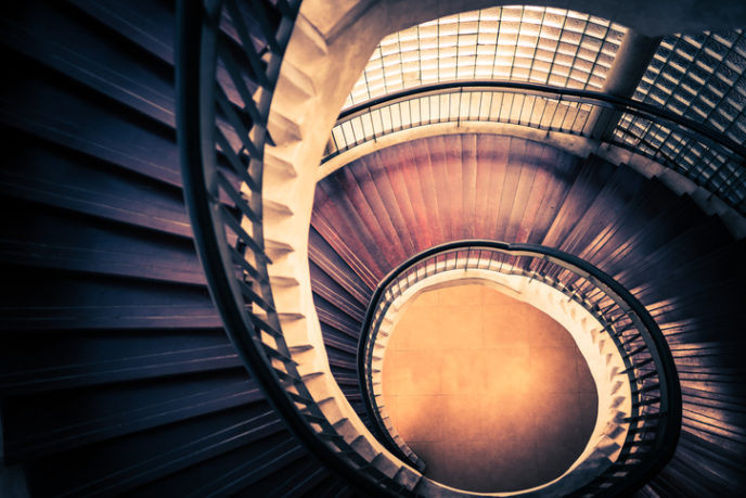 Staircase in spiral or swirl shape, abstract or architecture concept