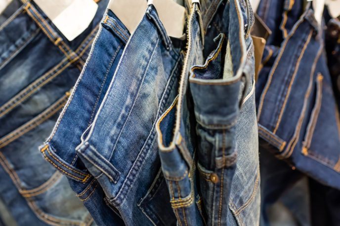 Row of blue denim (soft focus)