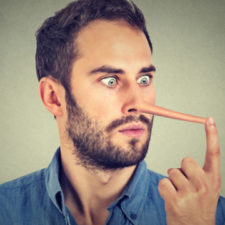 Man with long nose shocked surprised