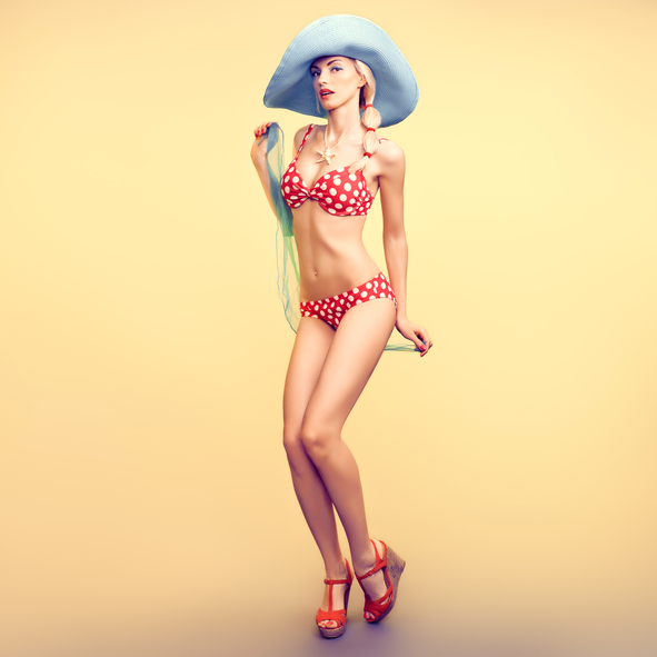 Fashion. PinUp model woman in Beach Bikini. Summer