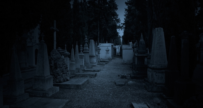 Blue twilight cemetery