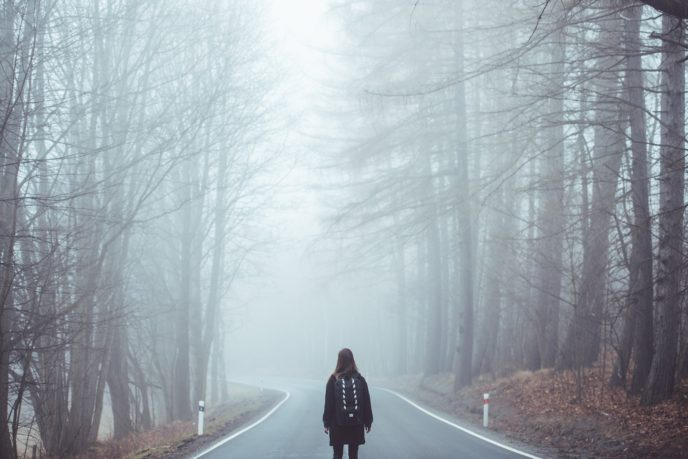 Http://maxpixel.freegreatpicture.com/Eerie Mist Lost Scared Road Creepy Girl Fog 1208283