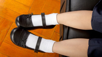 Young School Girl Student Wearing Black Shoes and White Socks ,