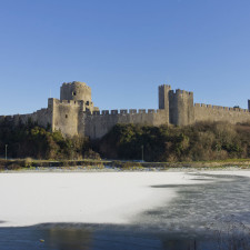 Pembroke Castle in winter; Pembrokeshire, Wales