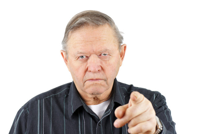 Old man pointing at you