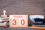 October 30. close up wooden calendar. Time planning and business background.