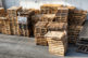 A stacked wooden pallets