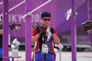 Zuzana Rehak Stefecekova, of Slovakia, prepares to compete in the women's trap at the Asaka Shooting Range in the 2020 Summer Olympics, Wednesday, July 28, 2021, in Tokyo, Japan. ()