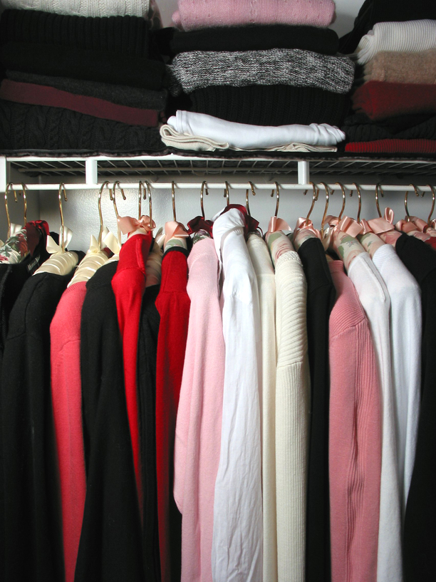 Closet full of clothes: