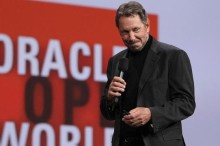 Oracle CEO Larry Ellison begins his keynote address at Oracle OpenWorld in San Francisco, Tuesday, Oct. 2, 2012. Ellison says he plans to turn the Hawaiian island that he recently bought into a laboratory for experimenting with more environmentally sound ways of living. Ellison says he hopes to convert sea water into fresh water on the 141-mile-square (365-square-kilometer) mile island of Lanai. He also wants more electric cars on the island and hopes to increase its fruit exports to Japan and other markets. (AP Photo/Eric Risberg)