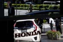 Logo of Honda Motor is pictured at the company's showroom in Tokyo