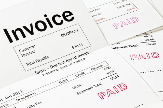 Invoice with Paid Stamp