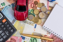 Toy car, euro, calculator