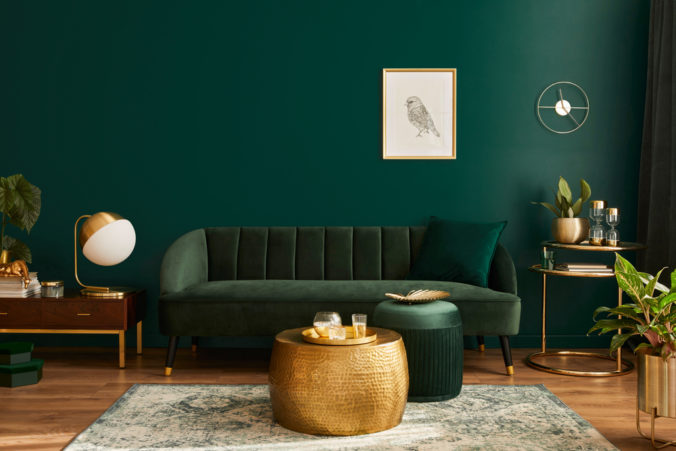 Luxury,Living,Room,In,House,With,Modern,Interior,Design,,Green