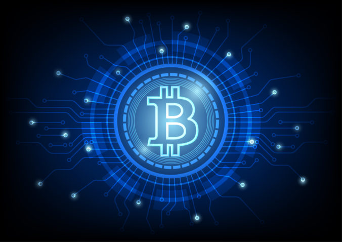 Cryptocurrency bitcoin concept. Digital abstract technology blue background