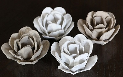 egg carton roses painted