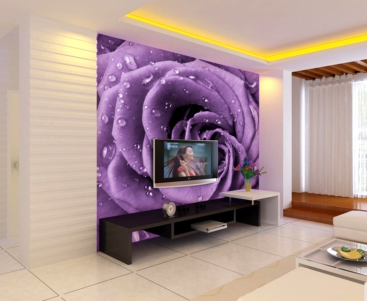Free shipping European violet porch TV 3 d large murals dream bedroom sofa background wallpaper wallpaper