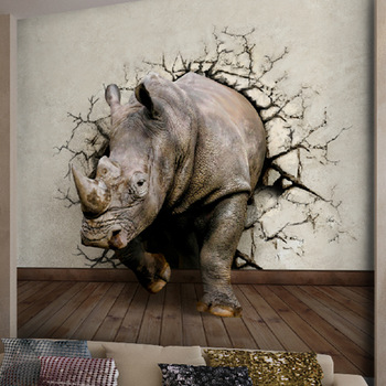 art wall stickers Rhino 3d effects mural three dimensional relief wallpaper entranceway non woven wallpaper.jpg 350x350