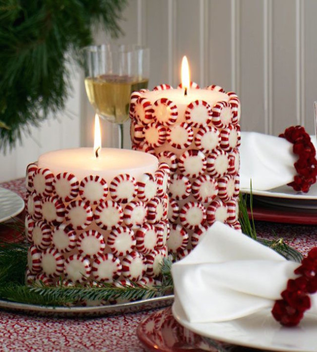 Christmas candies glued to white pillar candles.jpg