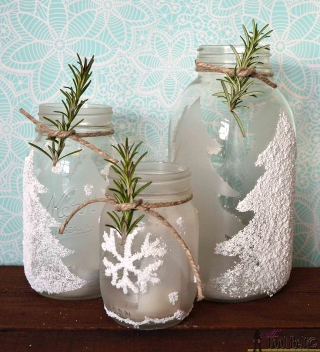 Frosted winter themed mason jar candle holders with epsom salts.jpg