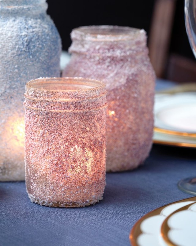 Mason jars rolled in glitter and epsom salts.jpg