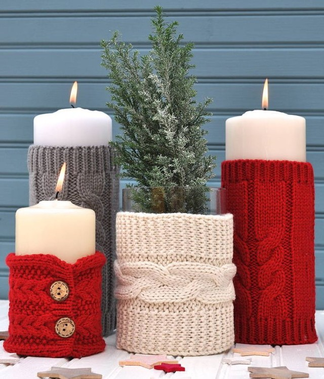 Pillar candles with knitted sweater sleeves.jpg