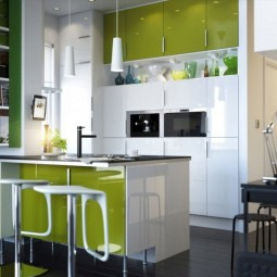 Incredible ikea small kitchen ideas with modern design decorated with white and green cabinet combined with small pendant lighting design 1024x905 718x635.jpg