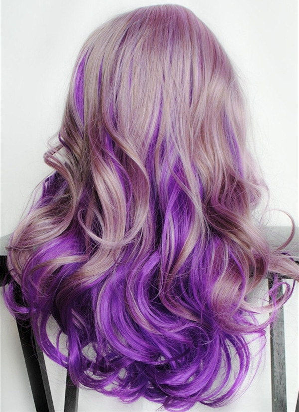 Purple ombre hair color with golden brown amazing hair color.jpg
