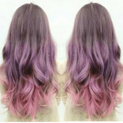 Sliver purple ombre hair with smocky pink amazing hair color.jpg
