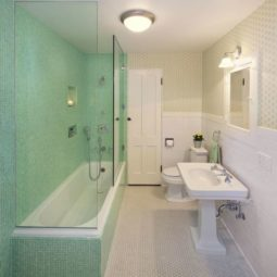 Post_mint tile shower in a wallpapered bathroom.jpg