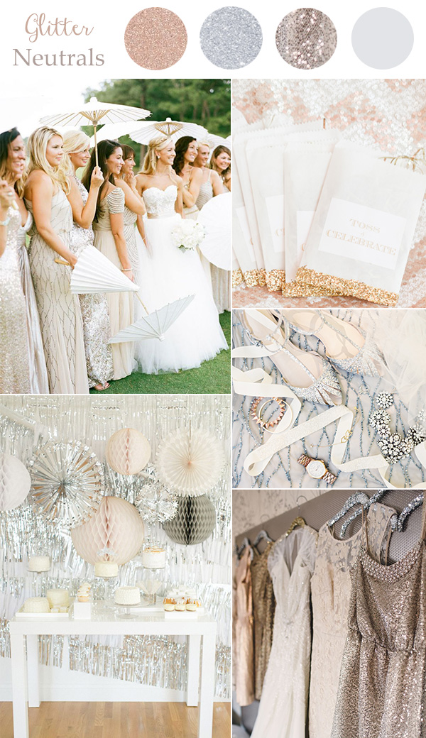 Glitter neutral wedding colors for 2016 trends with metallics and sequins.jpg