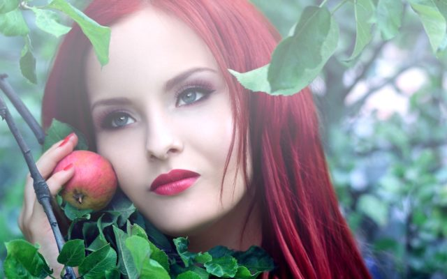 Women redhead face dyed hair red lips apple leaves 2560x1600.jpg