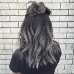 Gray color highlights ombre hair for winter 2016 2017.jpg