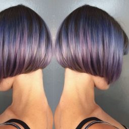 Short blunt bob hair ideas the purple highlighted bob cut .jpg