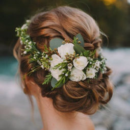 Updo wedding hairstyles with green floral for 2017.jpg