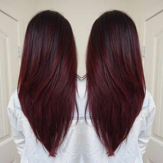 V haircuts for long hair dark red violet plum ombre balayage winter hair colors 2016 2017.jpg