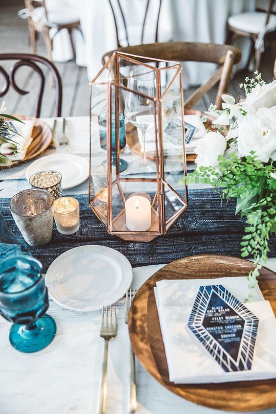 Blue and white geometric table decor.jpg