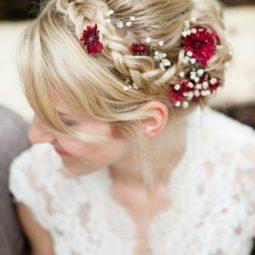 Bridal braid with maroon mums and babys breath via corina v. photograph.jpg