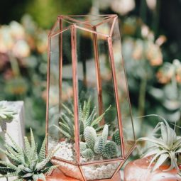 Geometric copper wedding centerpiece photo by marble rye photography.jpg