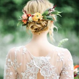Lace wedding dress and boho bridal hair photo by kayla snell.jpg
