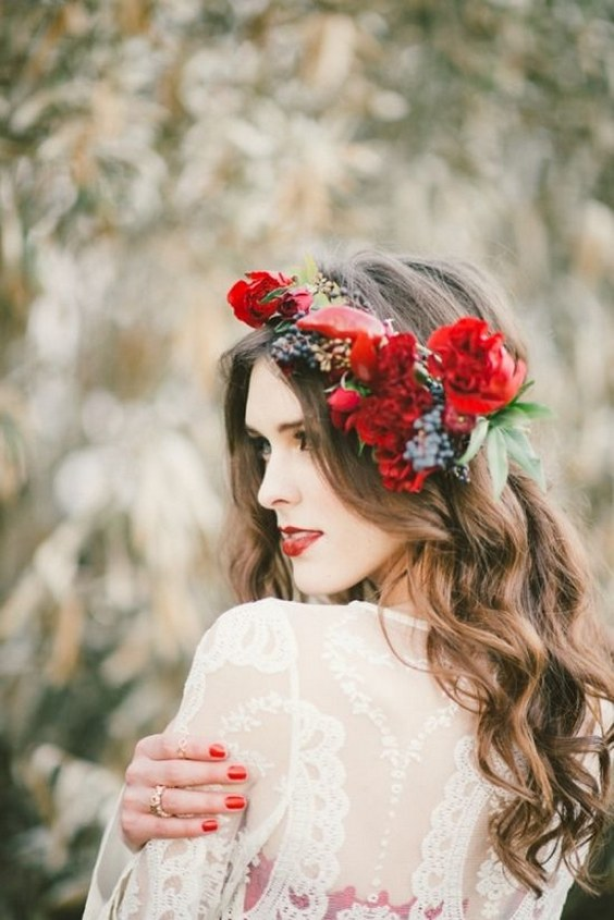 Long wedding hairstyle with red flower crown.jpg