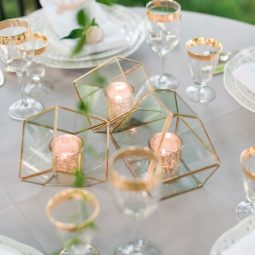 Modern romantic garden wedding centerpiece via kathryn ivy photography.jpg
