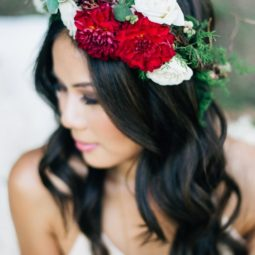 Red flower crown wedding hairstyle via jenna bechtholt photography.jpg
