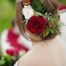 Wedding updo with red flower crown via janeane marie photography.jpg